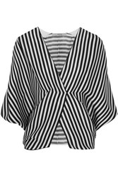 Etro Wrap Effect Striped Ribbed Silk Top Black