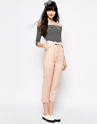 The Whitepepper Belted Linen Trouser Beigepink