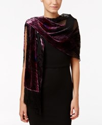 Inc International Concepts Peacock Velvet Burnout Fringe Scarf Only At Macy's Wine