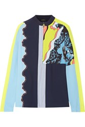 Versace Embroidered Printed Silk Crepe De Chine And Georgette Top Navy