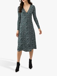 Pure Collection Midi Wrap Dress Teal Multi