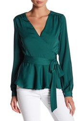 L'academie The Long Sleeve Wrap Blouse Green
