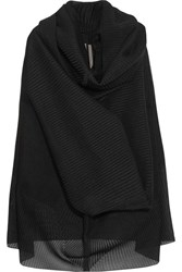 Rick Owens Pelican Draped Plisse Silk Blend And Buckram Cloth Sweater Black