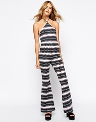 Motel Halter Unitard Jumpsuit With Flare Trouser In Wave Print Waveprint