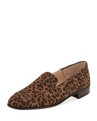 Gravati Suede Smoking Flat Loafer Leopard