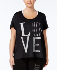 Material Girl Active Plus Size Metallic T Shirt Only At Macy's Noir