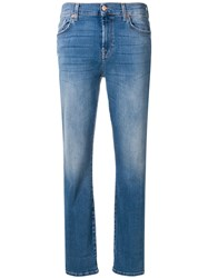 7 For All Mankind Cropped Slim Fit Jeans Blue