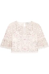 Needle And Thread Rosette Embellished Embroidered Tulle Top Ivory