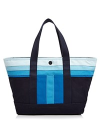 Tory Burch Small Striped T Canvas Tote Tory Navy