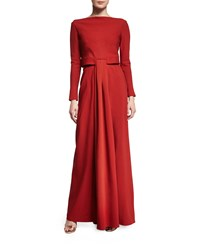 Zac Posen Long Sleeve Knot Waist Gown Tangerine Orange
