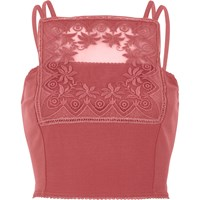 River Island Dark Pink Lace Panel Bralet