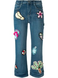 Michaela Buerger 'Summer Dreams' Knitted Applique Cropped Jeans Blue