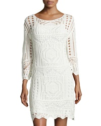 Neiman Marcus Crochet Long Sleeve Dress Natural