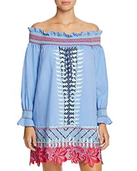 Red Carter Monroe Embroidered Chambray Off The Shoulder Dress Swim Cover Up