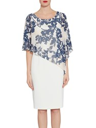 Gina Bacconi Crepe Dress With Printed Chiffon Cape Navy Nude