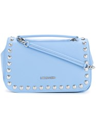 Love Moschino Studded Logo Shoulder Bag Women Polyurethane One Size Blue