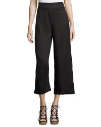 Bishop Young Flat Front Crepe Culotte Pants Black
