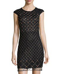 Phoebe Couture Embellished Lace Cocktail Dress Black Multi