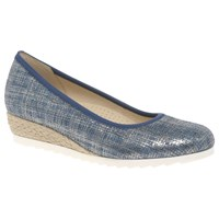 Gabor Epworth Wide Wedge Heeled Court Shoes Blue