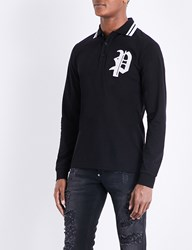 Philipp Plein Logo Embroidered Cotton Piqua Polo Shirt Black