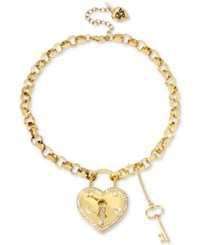 Betsey Johnson Gold Tone Pave Crystal Heart Lock Pendant Necklace
