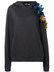 Christopher Kane Cut Out Flower Hoodie Women Cotton S Grey