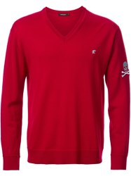 Loveless V Neck Fine Knit Jumper Red