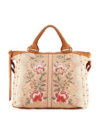 Johnny Was Calida Overnight Embroidered Canvas Tote Bag Khaki