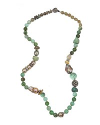 Stephen Dweck Chrysoprase Labradorite And Smoky Quartz Beaded Necklace
