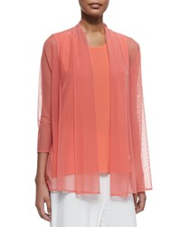 Caroline Rose 3 4 Sleeve Illusion Sheer Cardigan Women's