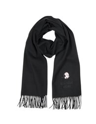 Moschino Solid Wool Olive Oil Long Scarf W Fringe Black
