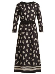 Altuzarra Paola Vase Print Satin Dress Black Multi