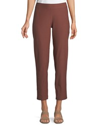 Eileen Fisher Washable Stretch Crepe Cropped Pants Russet
