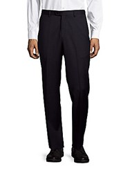 John Varvatos Astor Luxe Checked Wool Dress Pants Navy