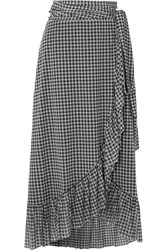 Ganni Ruffled Gingham Mesh Wrap Skirt Black