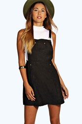 Boohoo Suedette Dungaree Dress Black