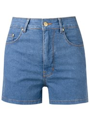 Amapo High Waist Denim Shorts Blue