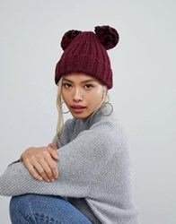 f855a61d5d1 Helene Berman Double Pom Pom Hat In Black And Burgundy Red