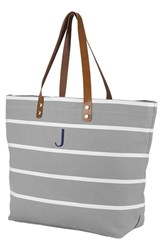 Cathy's Concepts Monogram Large Canvas Tote Grey Grey J