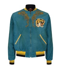 Gucci Tiger And Dragon Corduroy Bomber Jacket Male Blue