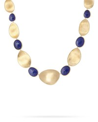 Marco Bicego Lunaria Lapis Alternating Station Necklace 18