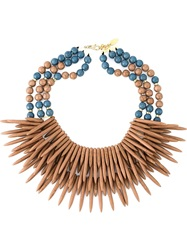 Katerina Psoma Multi Beaded Row Ceramic Necklace Brown