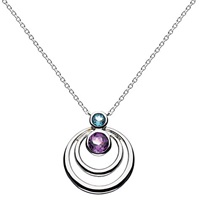 Kit Heath Sterling Silver Simmer Double Loop Topaz Pendant Necklace Silver