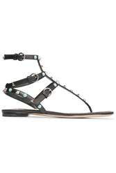 Valentino Rockstud Leather Sandals Black