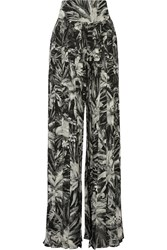 Balmain Pleated Printed Silk Wide Leg Pants Gray