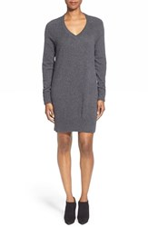 Women's White Warren V Neck Cashmere Sweater Dress Charcoal Black