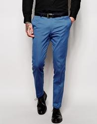Noose And Monkey Suit Trousers With Contrast Piping In Skinny Fit Lightblue