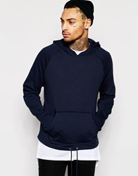 Asos Oversized Cropped Hoodie With Drawstring And Zips In Navy