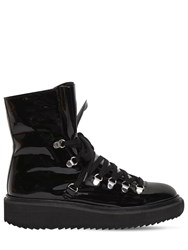 Kenzo 40Mm Patent Leather And Shearling Boots Black