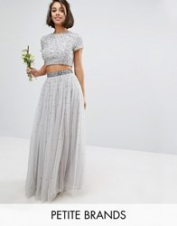 Maya Petite Sequin And Tulle Maxi Skirt Grey